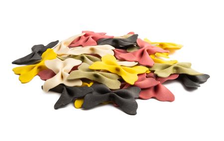 italian pasta bows isolated on white background
