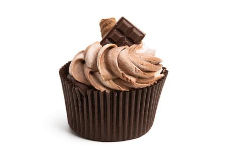 Cupcake aislado sobre fondo blanco.