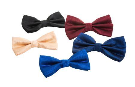 fiocchi di cravatta da uomo isolati su sfondo bianco