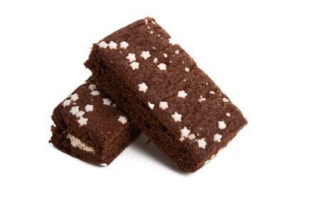 chocolate sponge cake isolated on white background