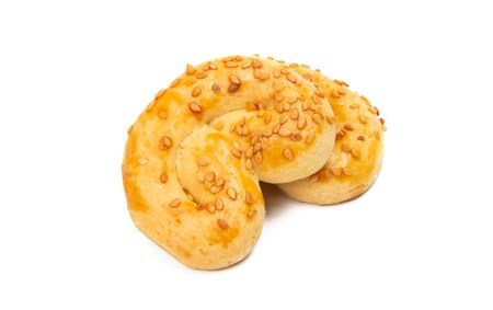 puff pastry sprinkled with sesame seeds isolated on white background 写真素材