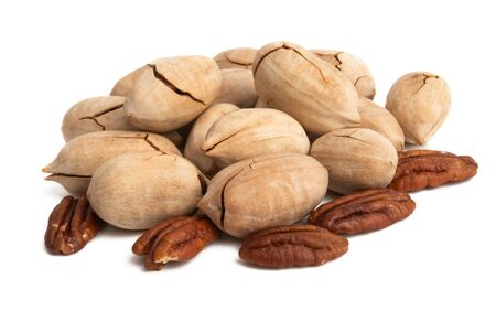 pecans isolated on white background 写真素材