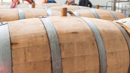 wooden barrels at the wine brandy factory
