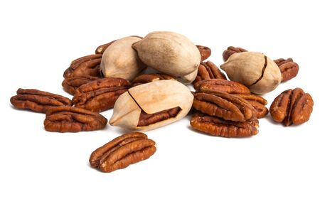 pecans isolated on white background Stock Photo