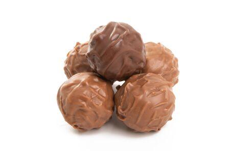 chocolate truffles isolated on white background Stock fotó