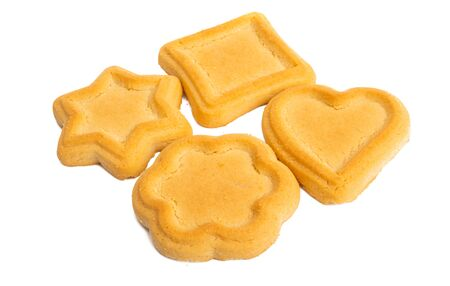 butter cookies isolated on white background 스톡 콘텐츠