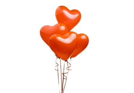air balloons red heart isolated on white background 스톡 콘텐츠