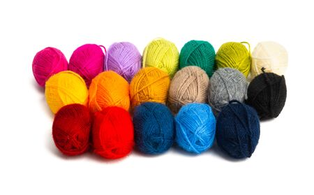 colored skeins of yarn isolated on white background 스톡 콘텐츠