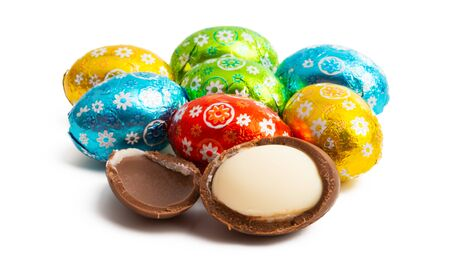 easter chocolate eggs isolated on white background