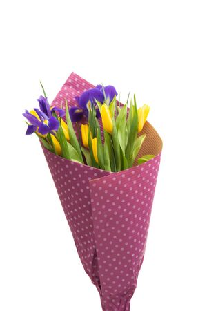 spring bouquet of iris with tulips isolated on white background