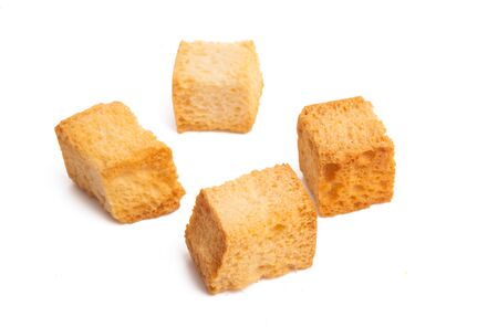 crouton cubes isolated on white background Stockfoto