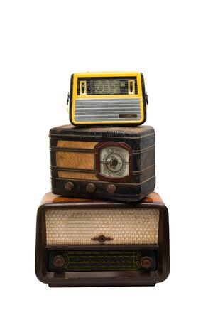 retro radio isolated on white background 版權商用圖片
