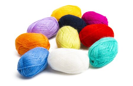 colored skeins of thread isolated on white background