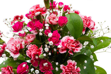 beautiful bouquet of carnations and roses isolated on white background