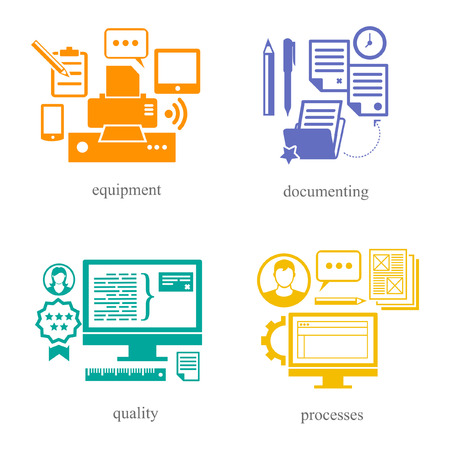 Symbols of the IT sphere as equipment, documenting, quality, processes