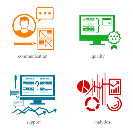 Symbols of the IT sphere as communication, quality, support and analytics