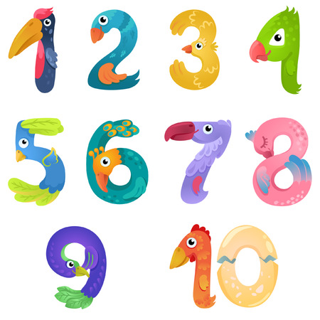one: Numbers like birds in fairy style