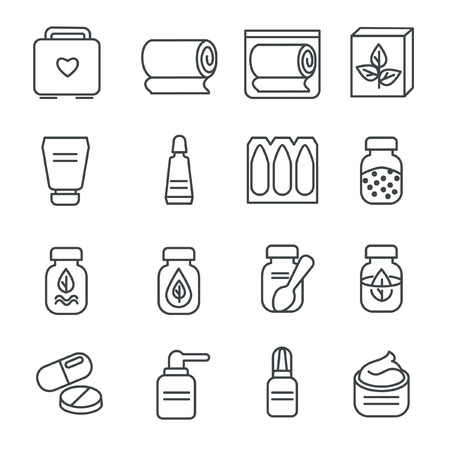 suppository: Icons of medicines like ointment, suppository, and solution Illustration