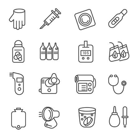 Iconos de herramientas médicas como estetoscopio, un termómetro y un nebulizador