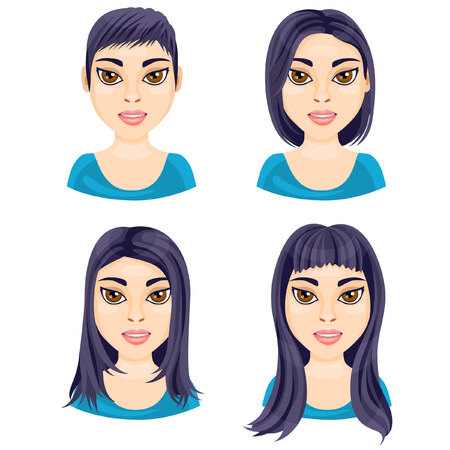 long straight hair: There are four basic lengths of women hair that demonstrated on Asian brunette Illustration