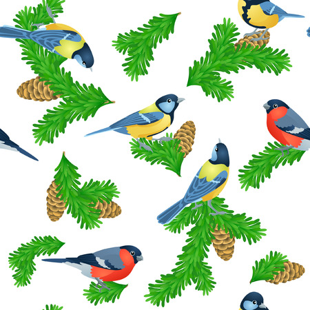 titmouse: Seamless pattern with fir paws, titmouse and bullfinches