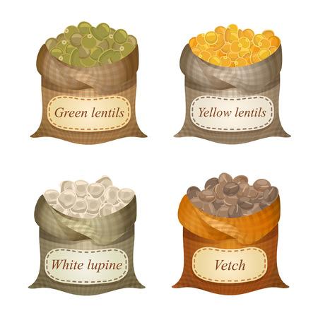 Ongebonden zakken met groene linzen, gele linzen, witte lupine, wikke en namen op hen