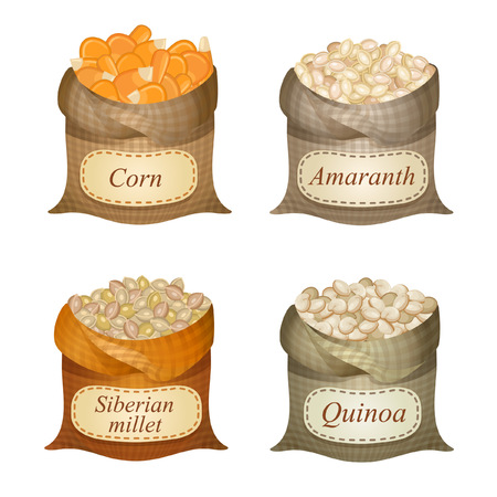 Untied sacks with corn, siberian millet, quinoa, amaranth and names on them