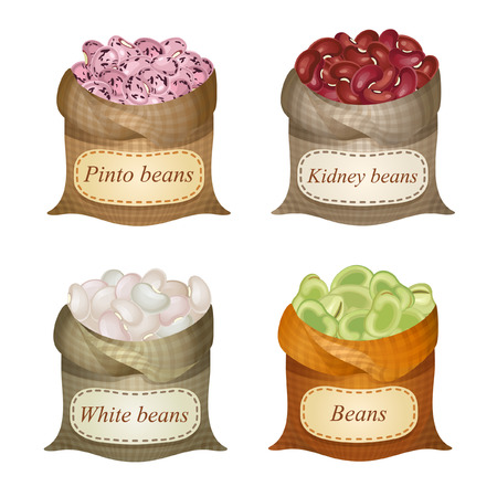 Untied sacks with white beans, kidney beans, green beans, pinto beans and names on them