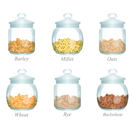 There are barley, millet, oats, wheat, rye and buckwheat in the glass jars Ilustração