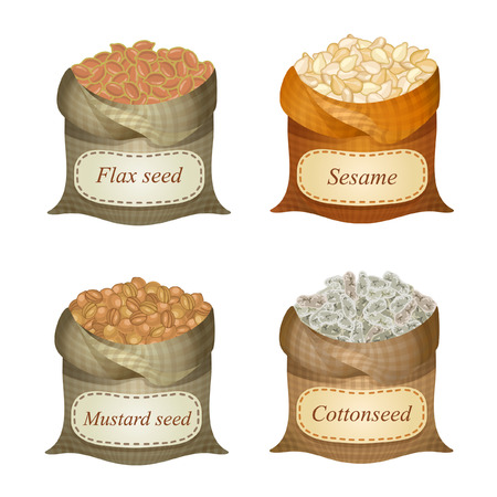 Untied sacks with flax seeds, sesame, mustard seeds, cottonseed seeds and names Illustration