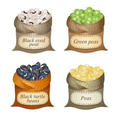 sacchi Untied con Black Eyed Peas, tartaruga fagioli neri, piselli, piselli e nomi su di loro