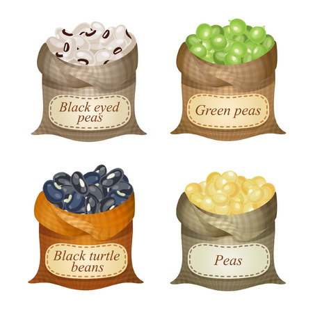 Untied sacks with black eyed peas, black turtle beans, peas, green peas and names on them