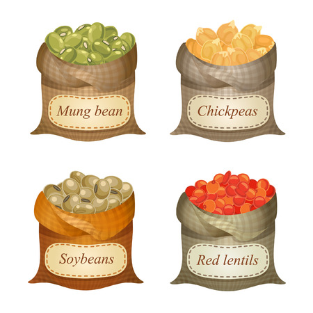 Untied sacks with mung beans, chickpeas, soya beans, red lentils and names on them