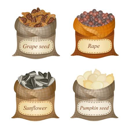 Untied sacks with grape seeds, rape, sunflower, pumpkin seeds and names Illustration