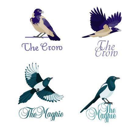 Vier concepten van logo met kraaien en eksters Logo