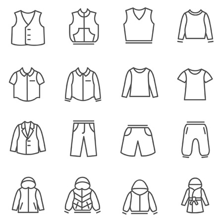for boys: Types of clothes for boys and teenagers as line icons