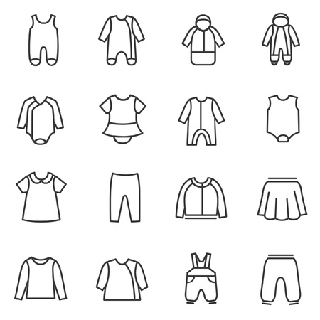 Types of clothes for babies as line icons
