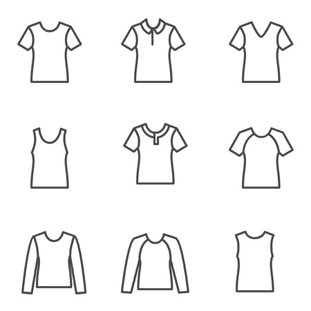 tuck: Different types of man�s t-shirts as line icons