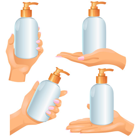 opaque: Four woman�s hands with plastic opaque cosmetic bottle Illustration