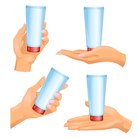 opaque: Four woman�s hands with plastic opaque cosmetic tube Illustration