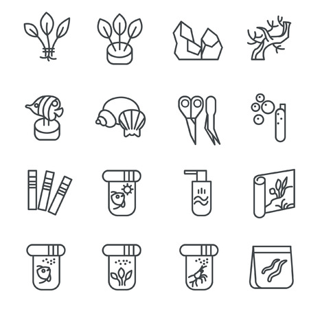 substances: There are types of aquarium decoration, food for inhabitants, chemical substances as line icons