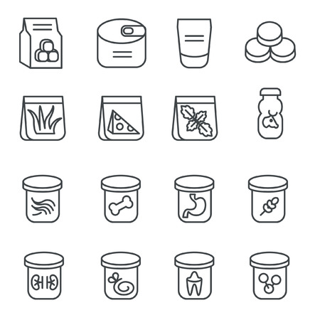 Food stuff for cat as line icons