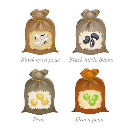green peas: Tied sacks with black eyed peas, black turtle beans, peas, green peas icons and names under them