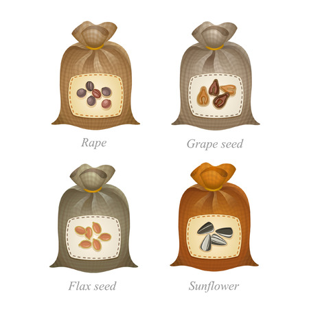 Tied sacks with rape, grape seed, flax seed, sunflower icons and names under them Illustration