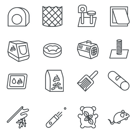 Cat care items as line icons