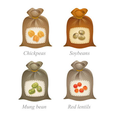 Tied sacks with chickpeas, soybeans, mung beans, red lentils icons and names under them