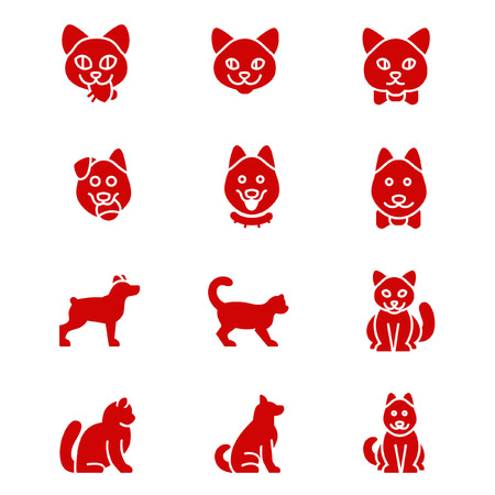 positions: Icons of cats and dogs in different positions as glyph icons
