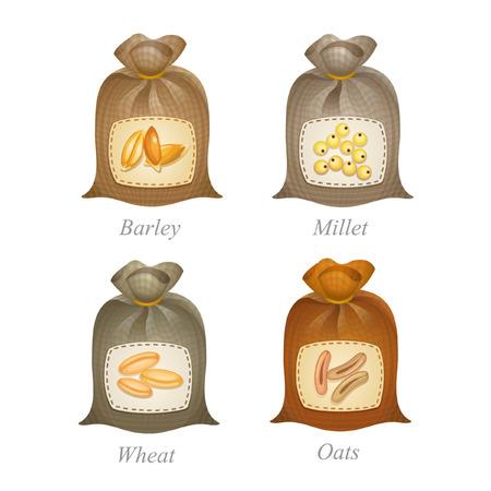 Vastgebonden zakken met gerst, gierst, tarwe, haver pictogrammen en namen onder hen