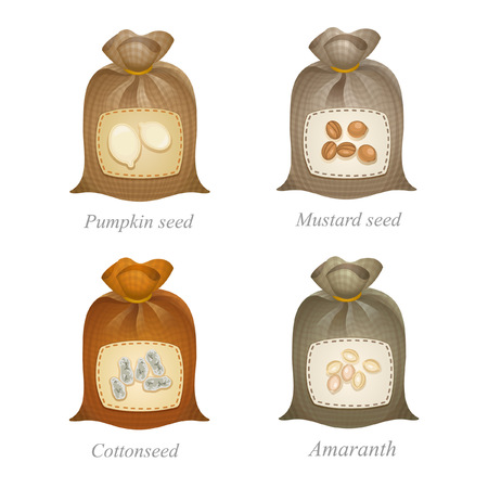 mustard seed: Tied sacks with pumpkin seed, mustard seed, cottonseed, amaranth icons and names under them
