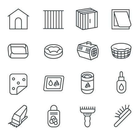 shearer: There are some dog and cat care items like pillow, cage, toilet, and brush as line icons